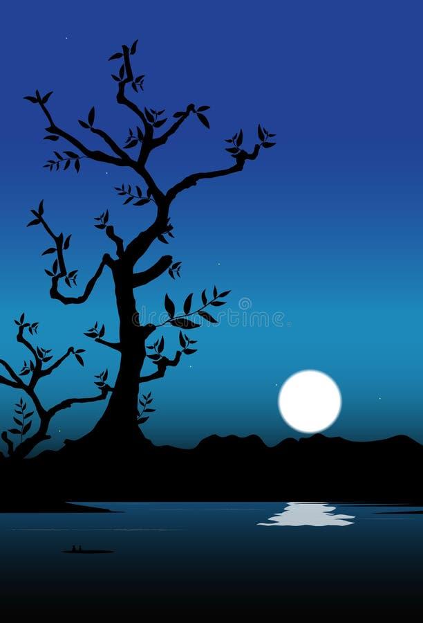 Árbol de la silueta con la luna stock de ilustración