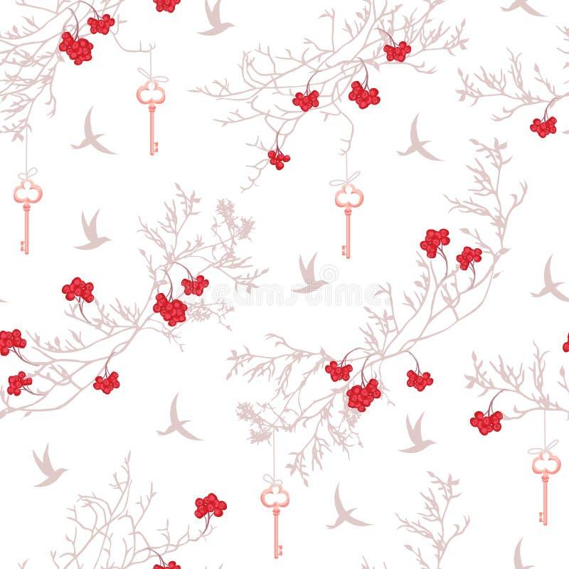 Árbol de la sorba, pájaros e impresión inconsútil del vector de las llaves que cuelga libre illustration