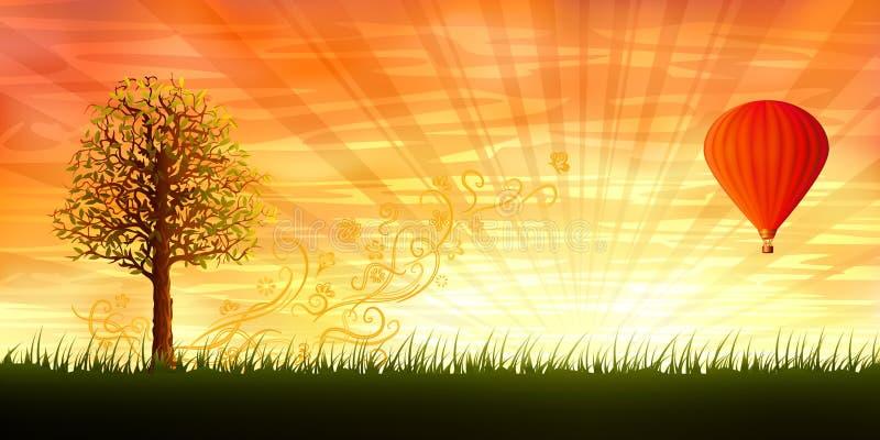 Árbol de la tarde y un balón de aire candente ilustración del vector