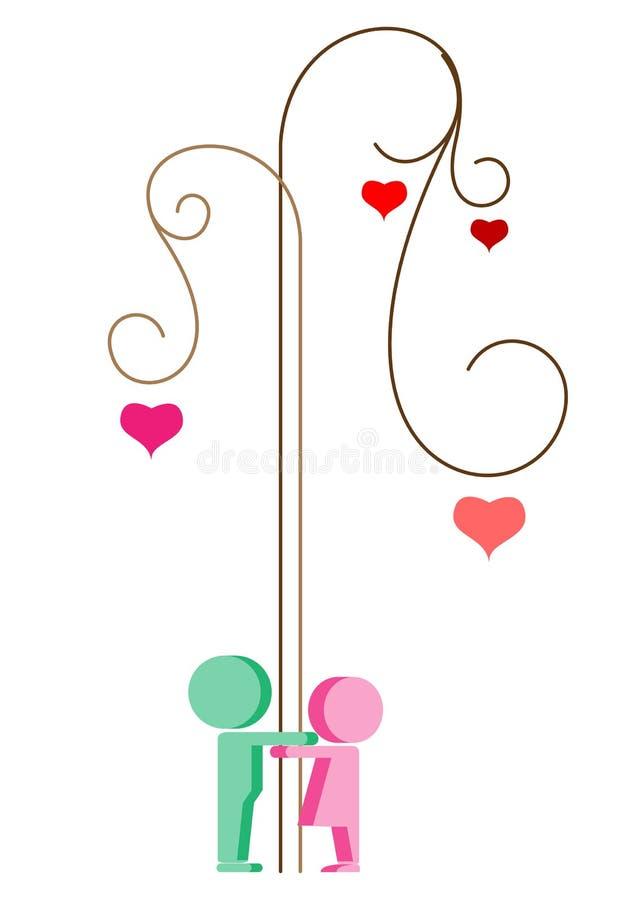 Árbol de la tarjeta del día de San Valentín libre illustration