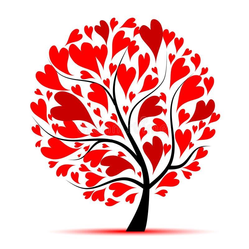 Árbol de la tarjeta del día de San Valentín, amor, hoja de corazones