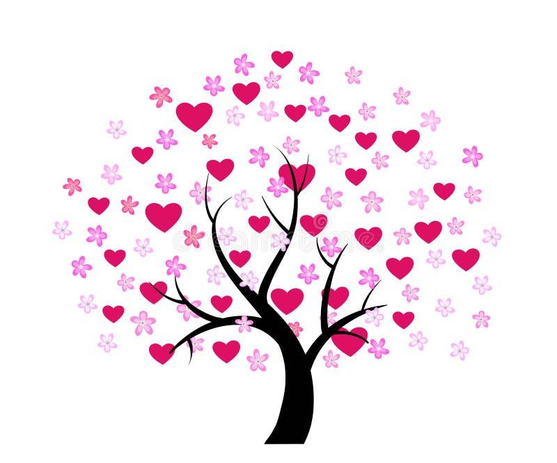 Árbol de la tarjeta del día de San Valentín del día libre illustration