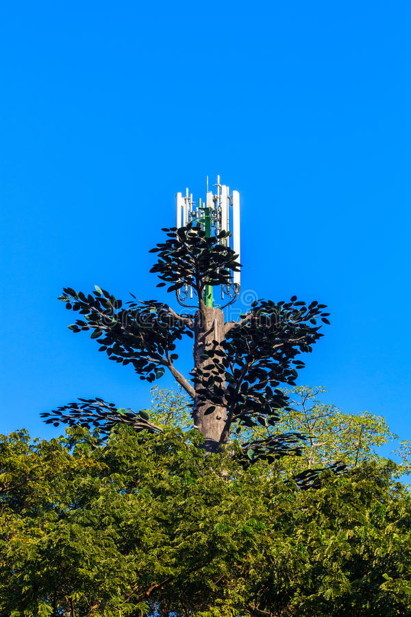 Árbol de la torre del teléfono celular imágenes de archivo libres de regalías