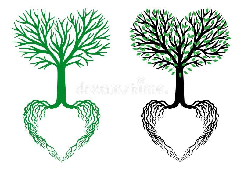 Árbol de la vida, árbol del corazón, vector stock de ilustración
