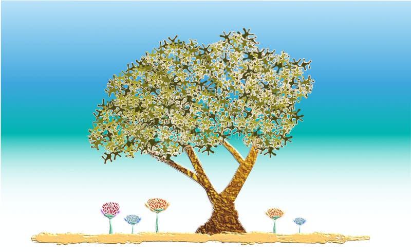 Árbol de la vida en el jardín de eden ilustración del vector