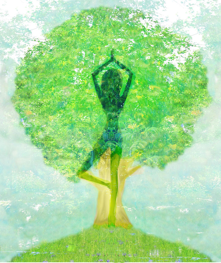 Árbol de la yoga de la vida stock de ilustración