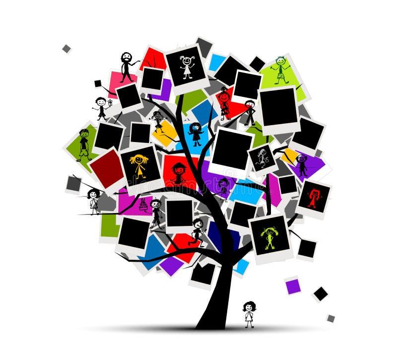 Árbol de las memorias con los marcos de la foto stock de ilustración