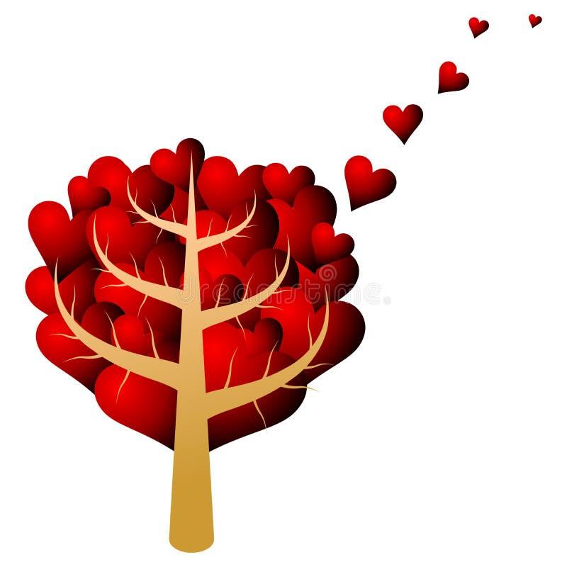 Árbol de las tarjetas del día de San Valentín stock de ilustración
