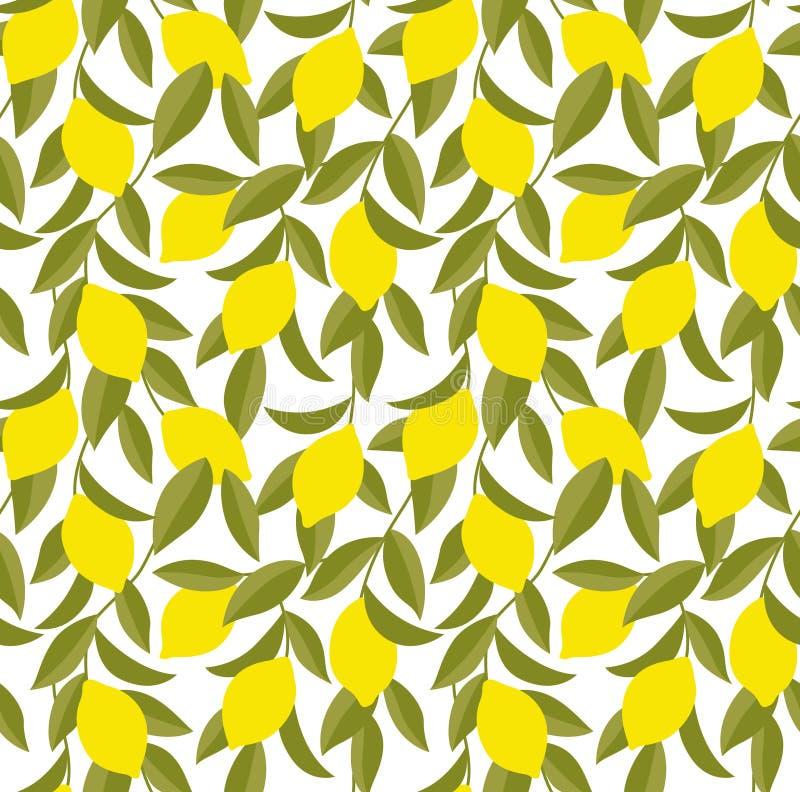Árbol de limón amarillo Art Seamless Pattern ilustración del vector