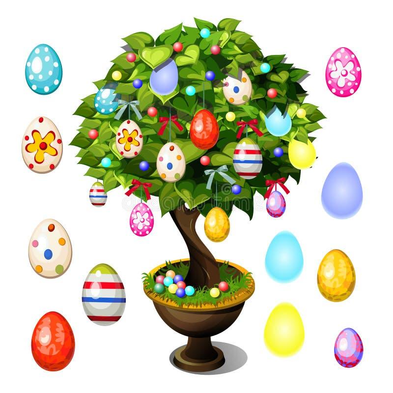 Árbol de los bonsais adornado con los huevos de Pascua para el cartel, la invitación y otras tarjetas aislados en el fondo blanco stock de ilustración