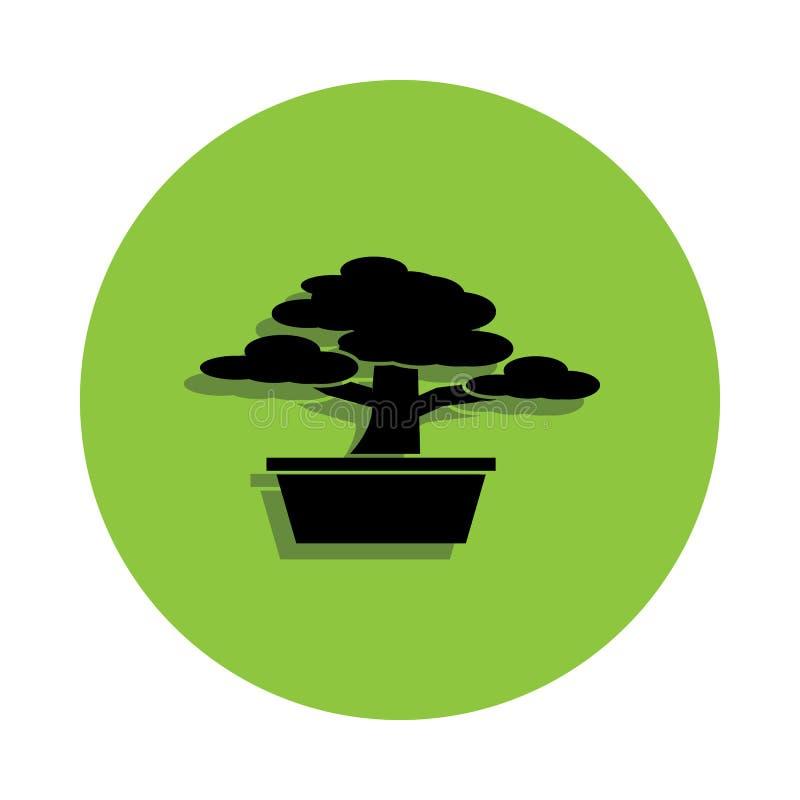 Árbol de los bonsais en icono verde de la insignia stock de ilustración