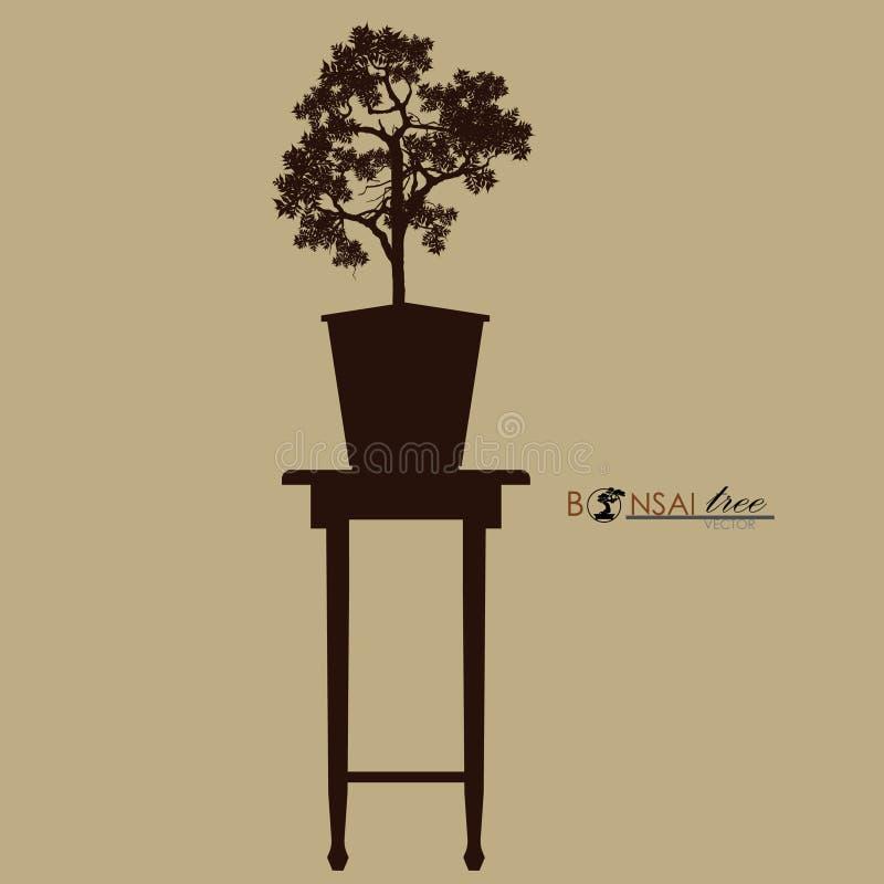 Árbol de los bonsais en la tabla vendimia Estilo realista Ilustración del vector libre illustration