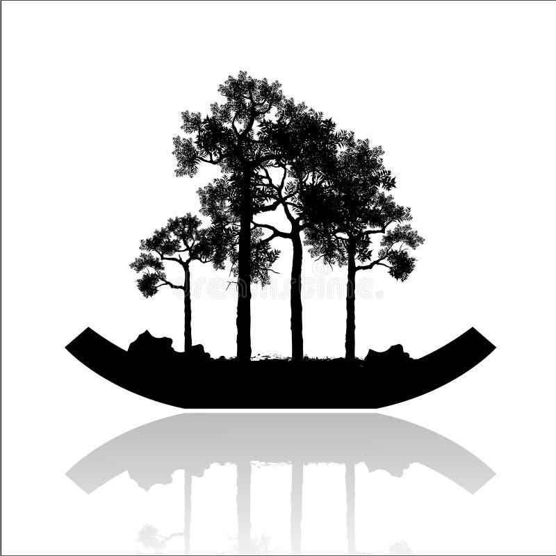 Árbol de los bonsais, silueta negra de los bonsais, imagen detallada, ejemplo del vector, ilustración del vector
