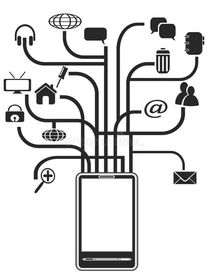 Árbol de los iconos de PDA stock de ilustración