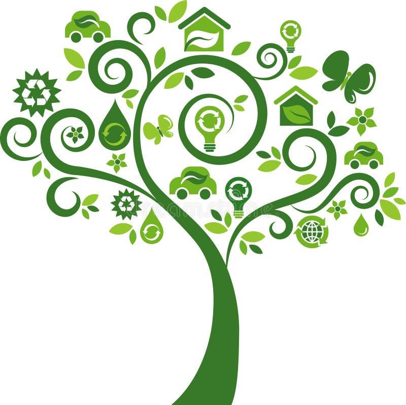 Árbol de los iconos del concepto de la energía de Eco - 2 ilustración del vector