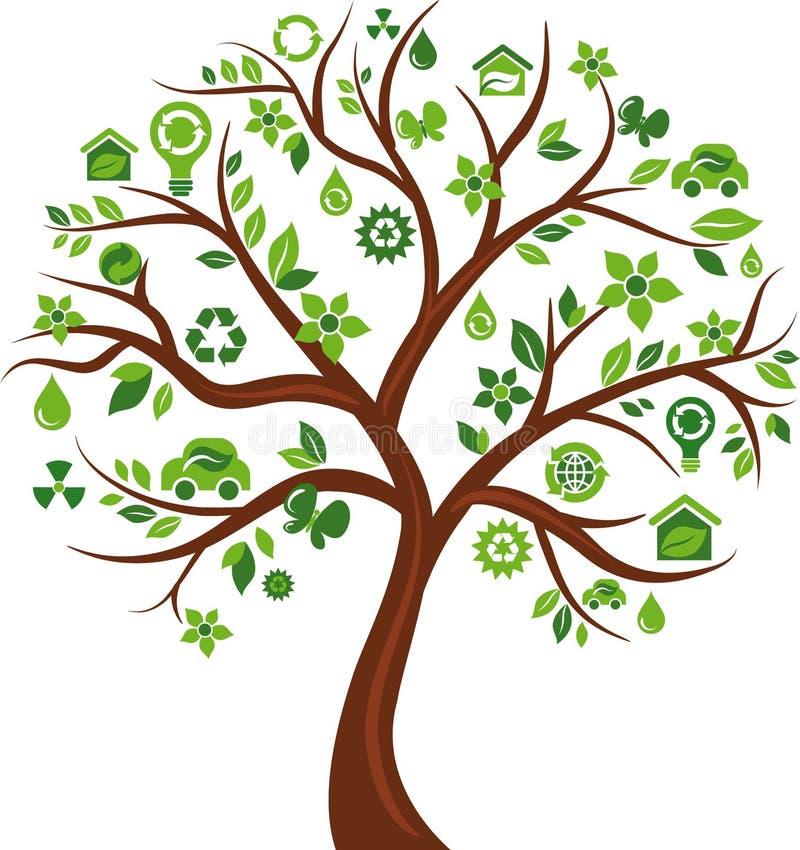 Árbol de los iconos del concepto de la energía de Eco - 3 ilustración del vector