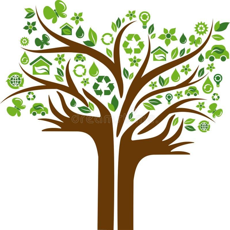 Árbol de los iconos del concepto de la energía de Eco con dos manos libre illustration