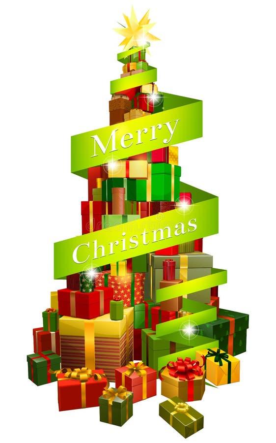 Árbol de los regalos con la cinta de la Feliz Navidad libre illustration
