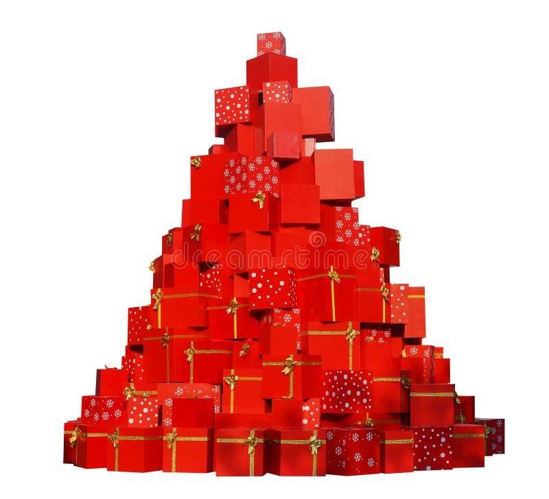 Árbol de los regalos de la Navidad foto de archivo