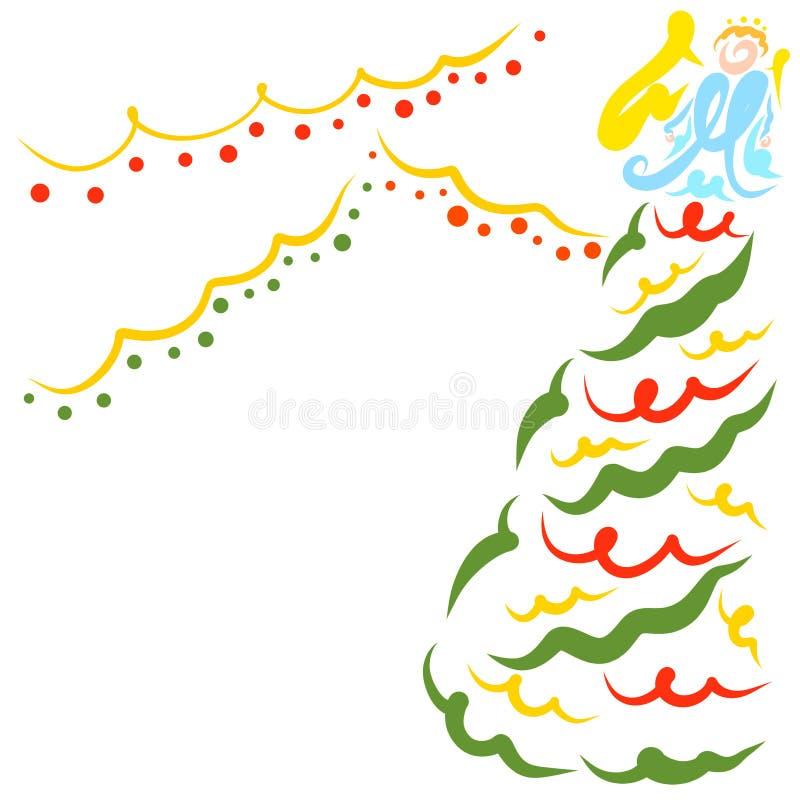 Árbol de navidad, ángel y guirnaldas brillantes, modelo colorido libre illustration