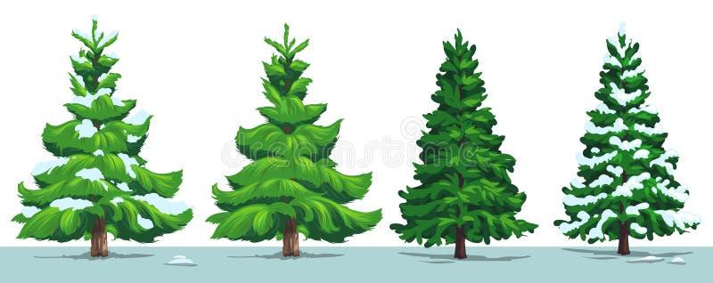 Árbol de navidad, abeto verde, pino, picea con nieve stock de ilustración