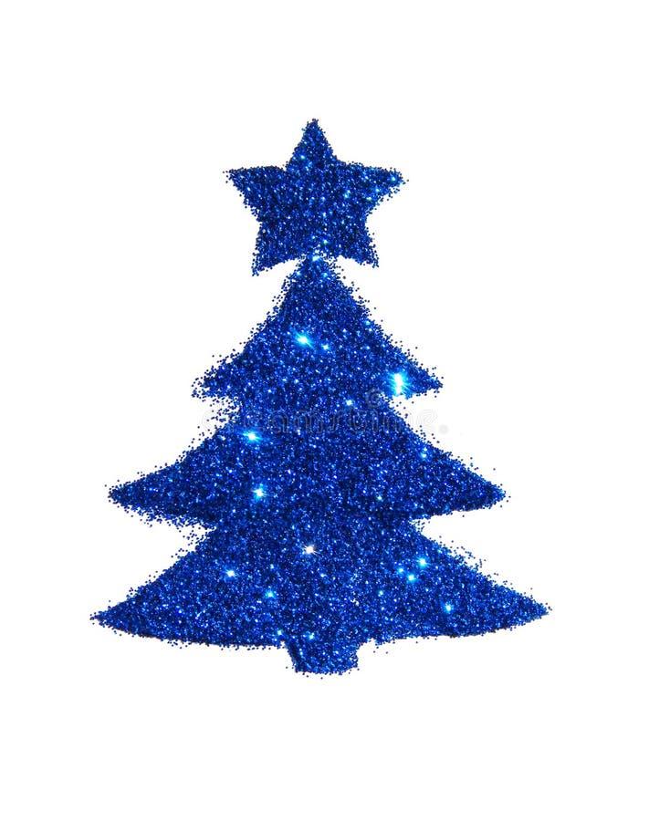 Árbol de navidad abstracto con la estrella del brillo azul, elemento festivo del diseño, icono fotografía de archivo