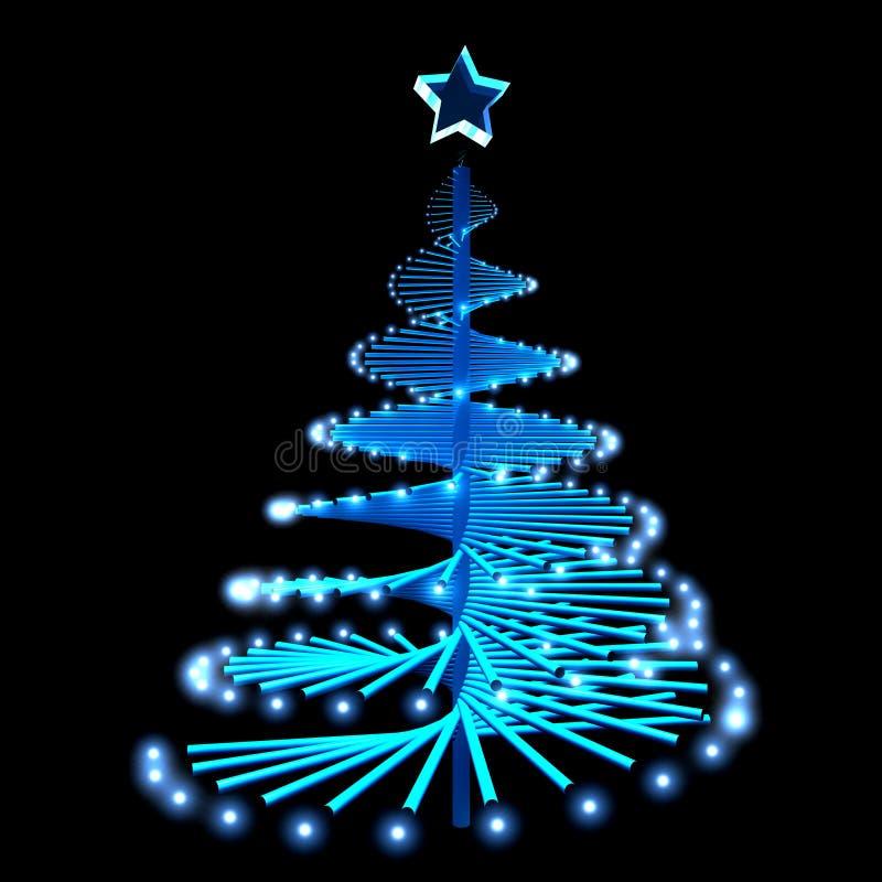 Árbol de navidad abstracto con las luces azules ilustración del vector