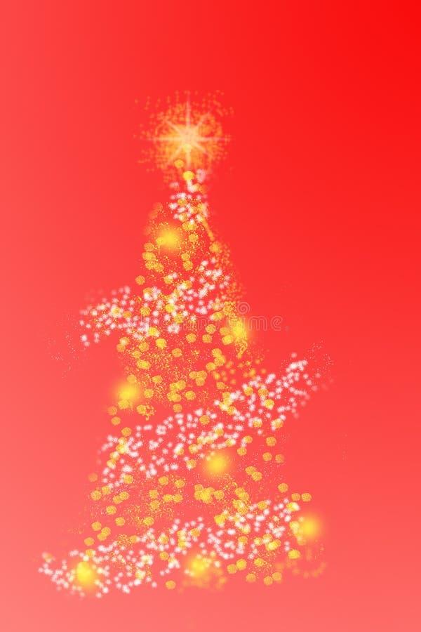 Árbol de navidad abstracto en fondo rojo Tarjeta de felicitación mágica de la Feliz Navidad y de la Feliz Año Nuevo imagenes de archivo