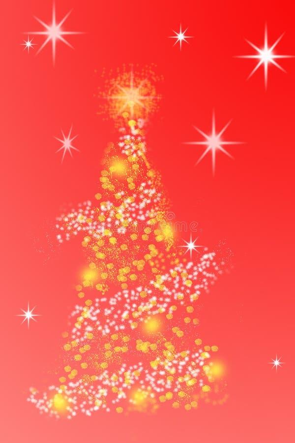Árbol de navidad abstracto estilizado en fondo rojo Tarjeta de felicitación mágica de la Feliz Navidad y de la Feliz Año Nuevo imagenes de archivo