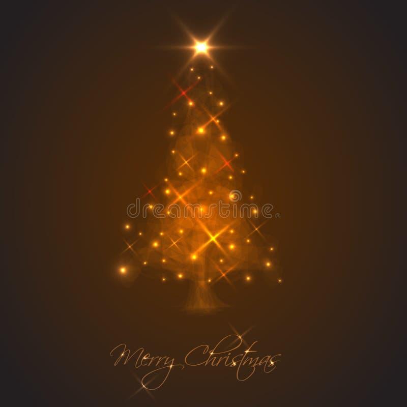 Árbol de navidad abstracto hecho de luz y de chispas stock de ilustración
