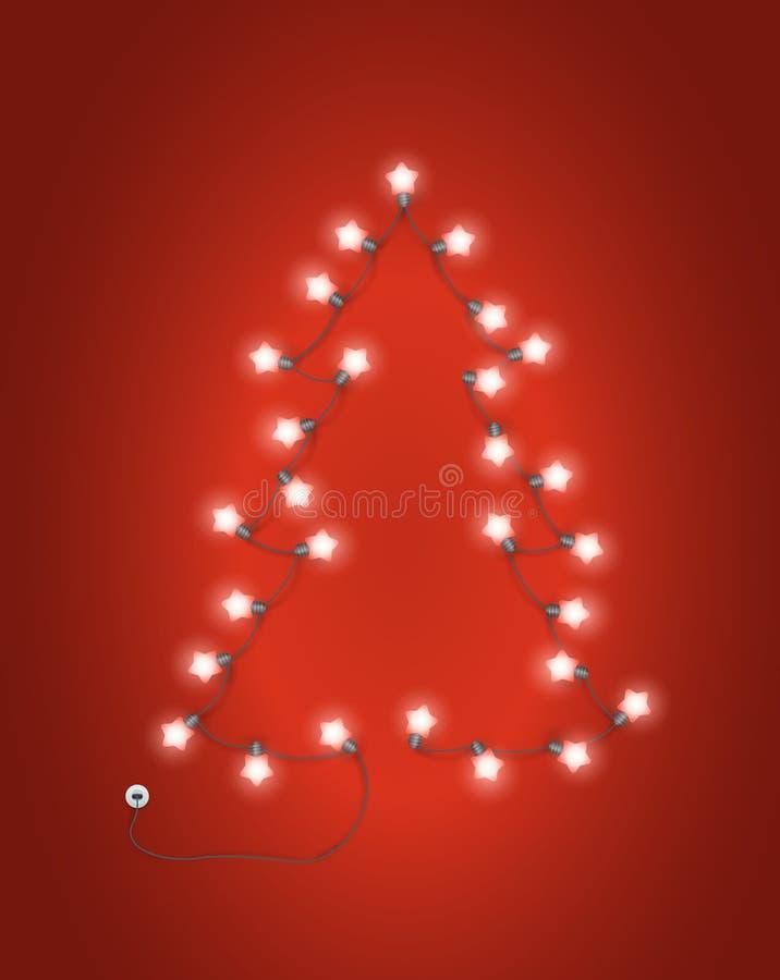 Árbol de navidad abstracto hecho de encender la guirnalda libre illustration