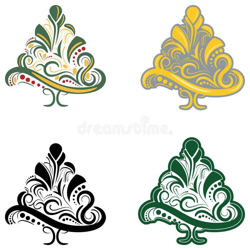 Árbol de navidad abstracto hermoso del vector stock de ilustración