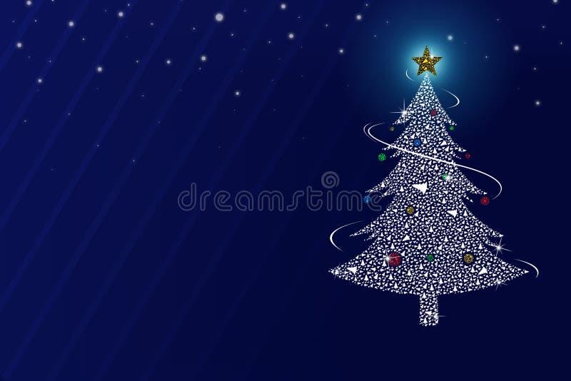 Árbol de navidad de Abtract en el fondo azul imagenes de archivo