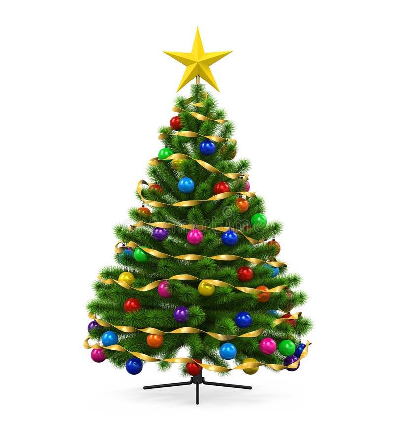 Árbol de navidad adornado stock de ilustración