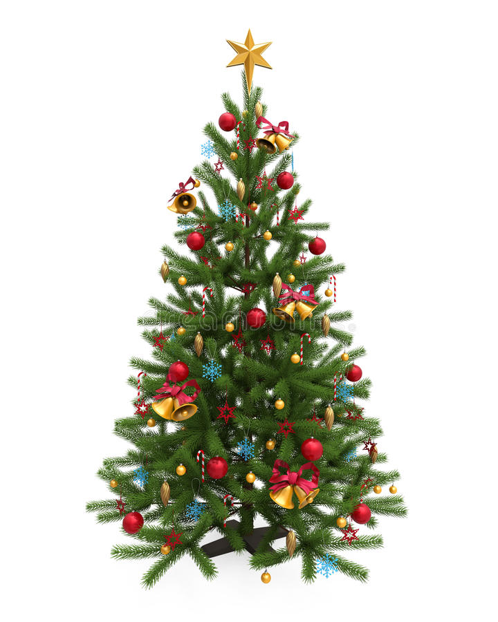 Árbol de navidad adornado aislado stock de ilustración