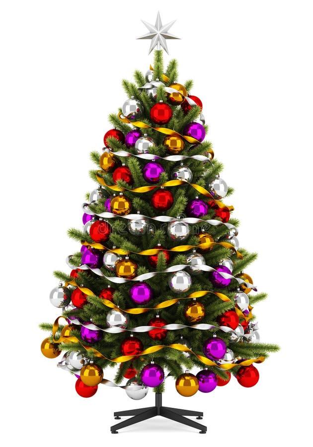 Árbol de navidad adornado aislado en blanco ilustración del vector