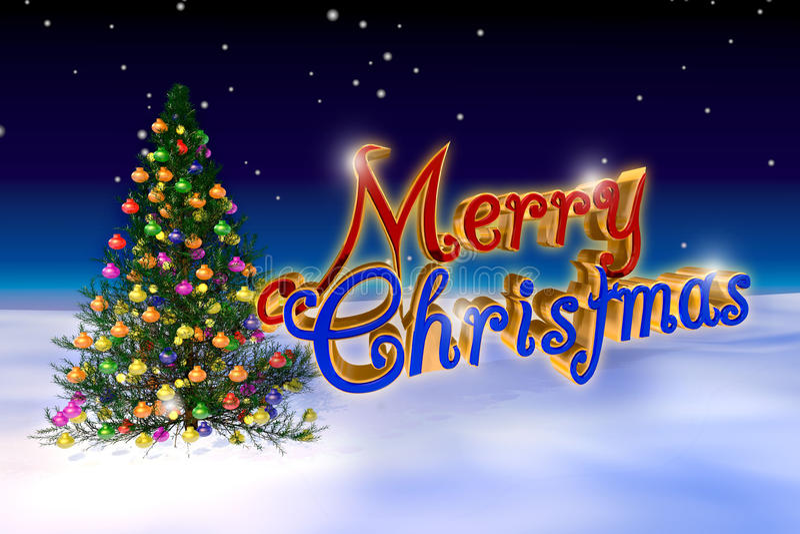 Árbol de navidad adornado aislado en fondo azul imagenes de archivo