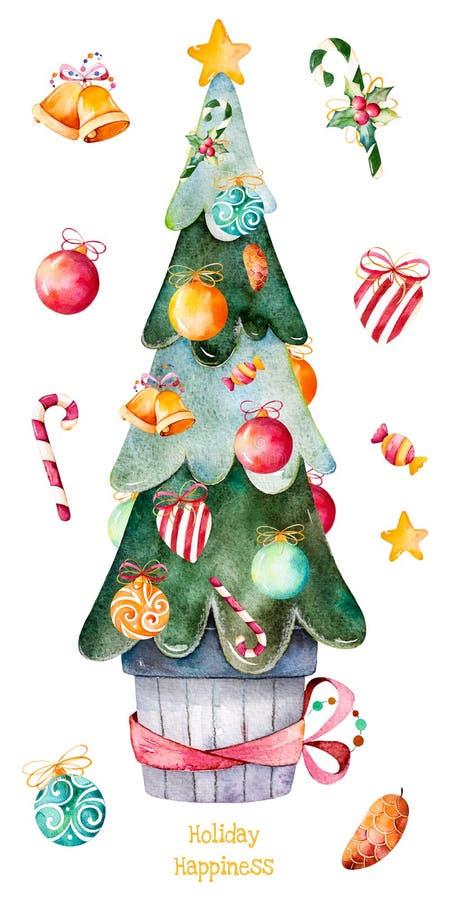 Árbol de navidad adornado con las bolas de la Navidad, caramelo, campanas de oro, anm del caramelo más ilustración del vector