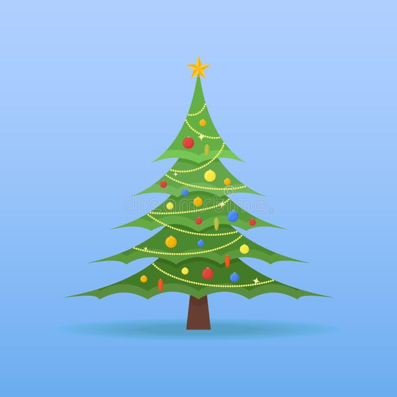 Árbol de navidad adornado con las chucherías y la estrella coloridas en el top stock de ilustración