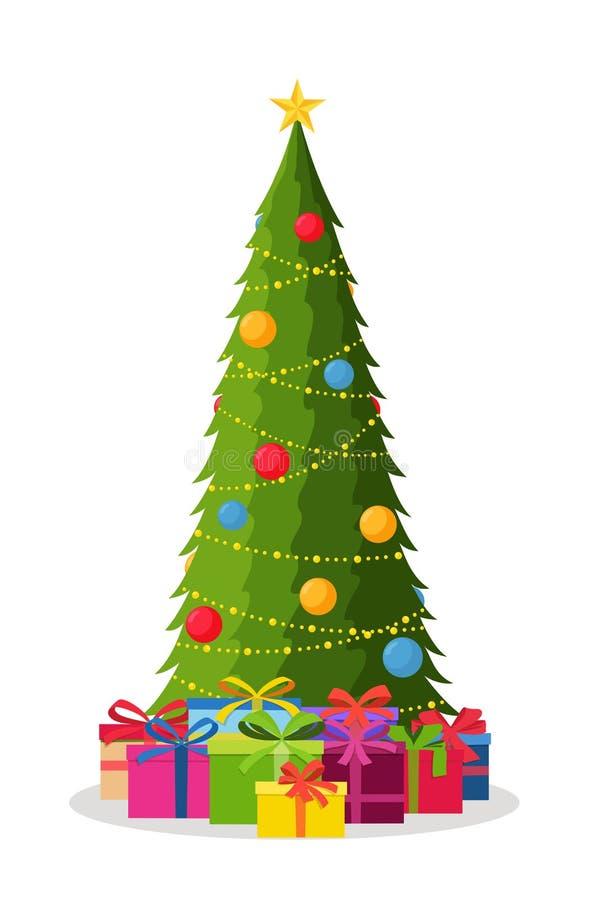 Árbol de navidad adornado con las decoraciones de las bolas y de las lámparas, cajas de regalo Feliz Año Nuevo ilustración del vector