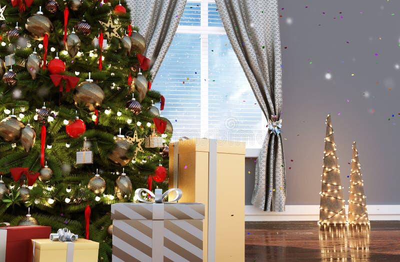 Árbol de navidad adornado en sala de estar en la Navidad libre illustration