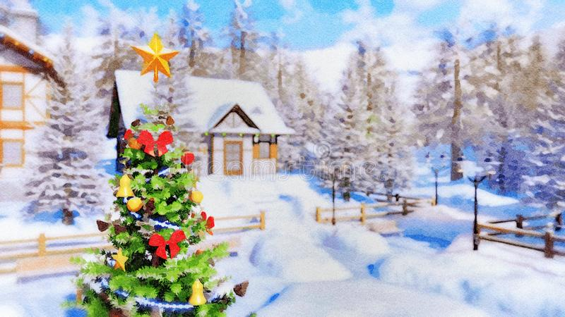 Árbol de navidad al aire libre en el día de invierno en acuarela ilustración del vector