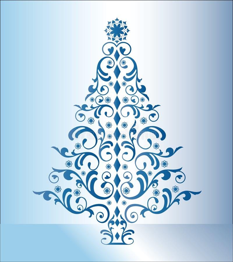 Árbol de navidad azul stock de ilustración