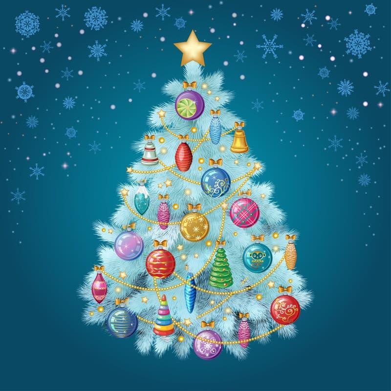 Árbol de navidad azul con los ornamentos coloridos, ejemplo del vector libre illustration