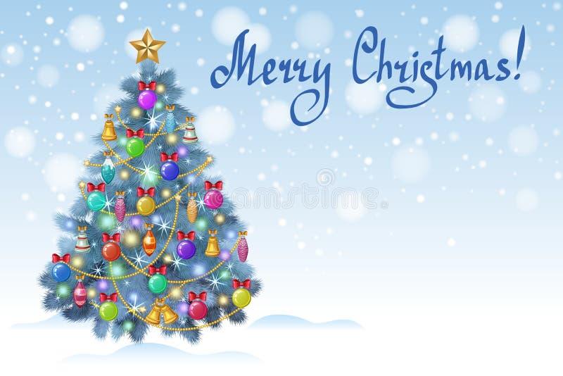 Árbol de navidad azul con los ornamentos coloridos, vector ilustración del vector