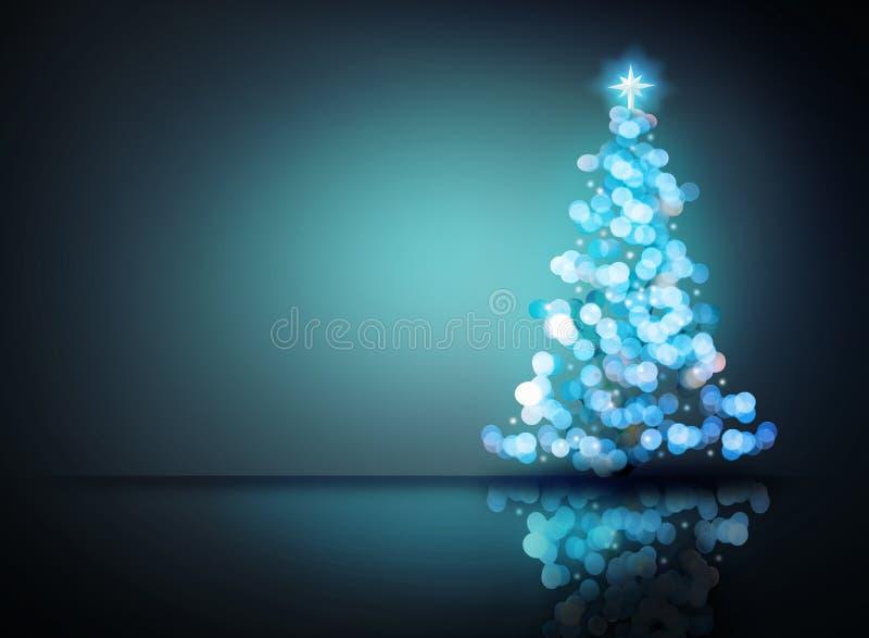 Árbol de navidad azul del ornamento Concepto de la decoración de Digitaces y fondo de la luz del bokeh que brilla intensamente y  libre illustration