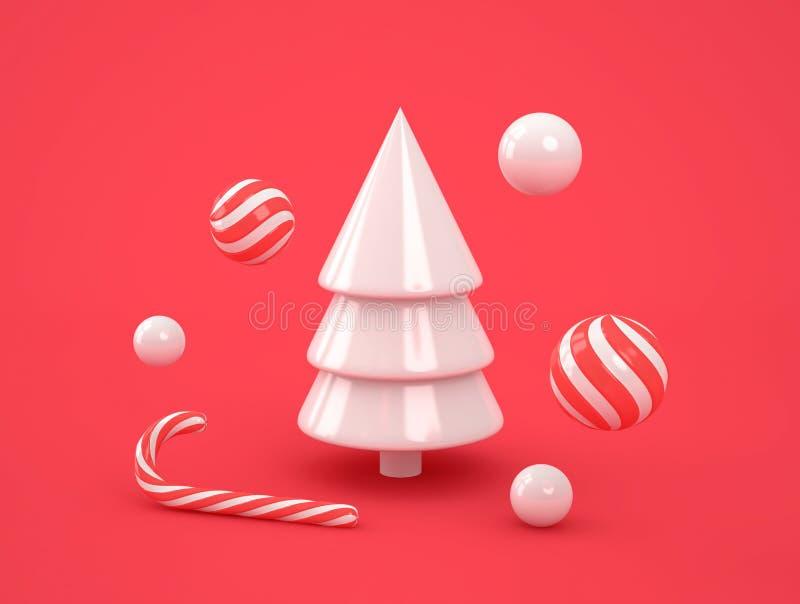 Árbol de navidad blanco abstracto con los caramelos en fondo rojo ilustración del vector