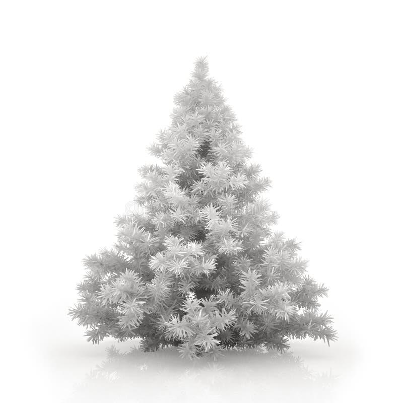 Árbol de navidad blanco aislado en el fondo blanco libre illustration