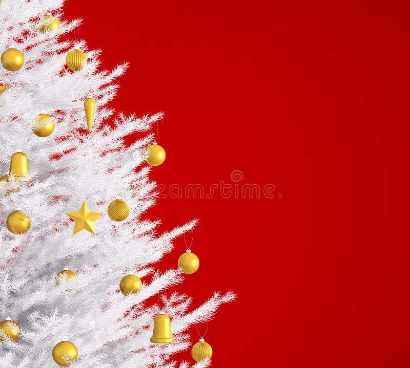 Árbol de navidad blanco sobre la representación roja 3d libre illustration