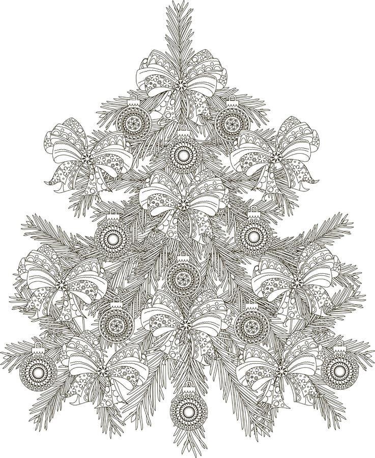 Árbol de navidad blanco y negro dibujado mano del bosquejo ilustración del vector